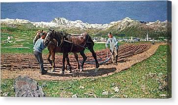 Ploughing Canvas Print by Giovanni Segantini