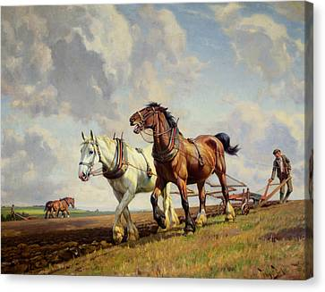 Plowing The Field Canvas Print by Wright Barker