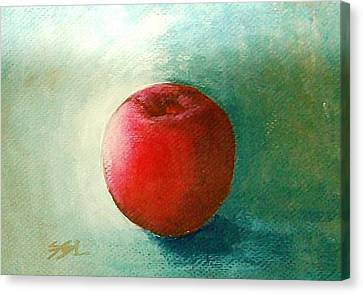 Canvas Print featuring the painting Plum 2 by Jane  See