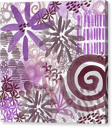 Orchids Canvas Print - Plum And Grey Garden- Abstract Flower Painting by Linda Woods