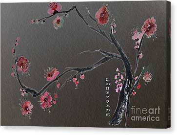 Plum Flower Canvas Print by Sibby S
