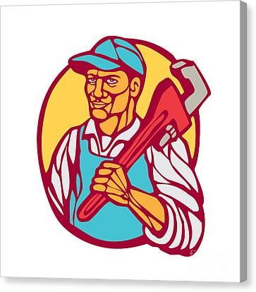 Plumber Carry Wrench Circle Woodcut Linocut Canvas Print by Aloysius Patrimonio