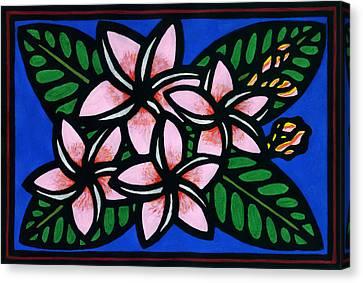 Lino-cut Canvas Print - Plumeria by Lisa Greig