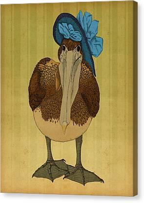 Canvas Print featuring the drawing Plumpskin Ploshkin Pelican Jill by Meg Shearer
