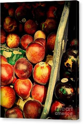 Canvas Print featuring the photograph Plums And Nectarines by Miriam Danar