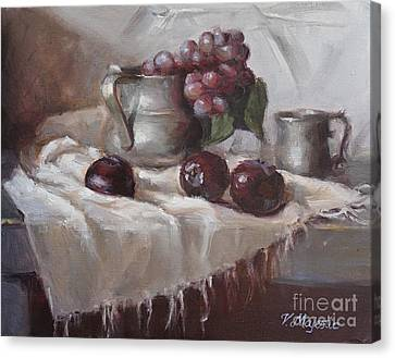 Plums Grapes And Pewter Canvas Print by Viktoria K Majestic