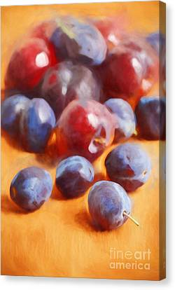 Plums On Orange Canvas Print by HD Connelly