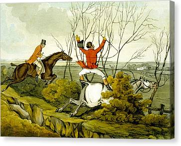 Plunging Through The Hedge From Qualified Horses And Unqualified Riders Canvas Print by Henry Thomas Alken