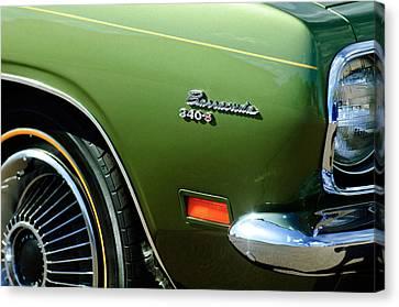 Plymouth Barracuda 340-s Emblem Canvas Print by Jill Reger
