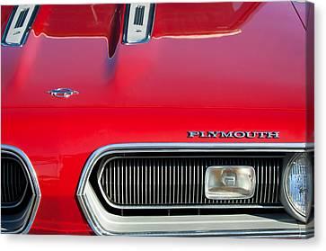 Plymouth Barracuda Canvas Print - Plymouth Barracuda Grille Emblem by Jill Reger