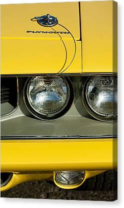 Plymouth Barracuda - Hemi Cuda - Head Lights Emblem Canvas Print by Jill Reger