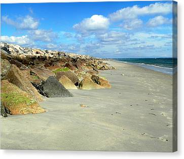 Canvas Print featuring the photograph Plymouth Beach In Massachusetts by Janice Drew