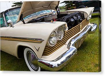 Canvas Print featuring the photograph Plymouth Fury Cream by Mick Flynn