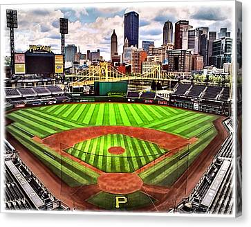 Pnc Park- Home Of The Pittsburgh Pirates Canvas Print by Charles Ott