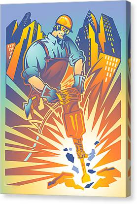 Pneumatic Construction Canvas Print by David Chestnutt