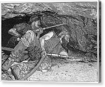 Pneumatic Mining Drills, Artwork Canvas Print by Science Photo Library