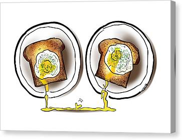 Poached Egg Love Canvas Print by Mark Armstrong