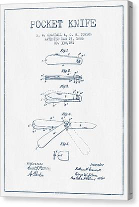 Pocket Knife Patent Drawing From 1886 -  Blue Ink Canvas Print