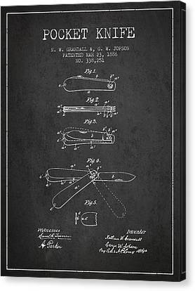 Pocket Knife Patent Drawing From 1886 - Dark Canvas Print by Aged Pixel
