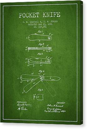Pocket Knife Patent Drawing From 1886 - Green Canvas Print by Aged Pixel