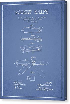 Pocket Knife Patent Drawing From 1886 - Light Blue Canvas Print by Aged Pixel