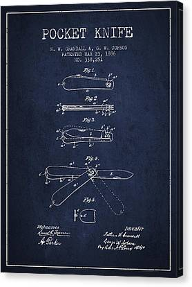 Pocket Knife Patent Drawing From 1886 - Navy Blue Canvas Print by Aged Pixel