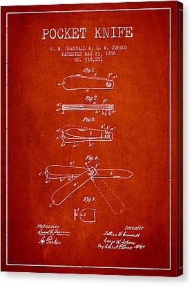 Pocket Knife Patent Drawing From 1886 - Red Canvas Print by Aged Pixel