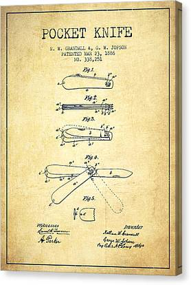 Pocket Knife Patent Drawing From 1886 - Vintage Canvas Print
