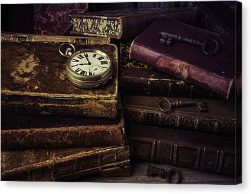 Pocket Watch On Old Book Canvas Print