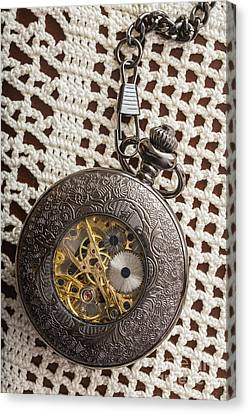 Pocket Watch Over Lace Canvas Print by Edward Fielding