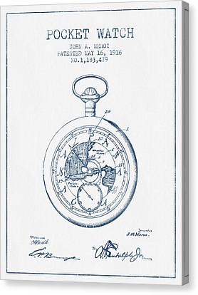 Pocket Watch Patent From 1916 - Blue Ink Canvas Print by Aged Pixel