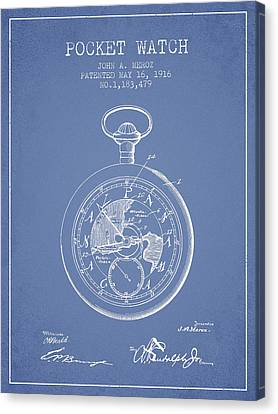 Pocket Watch Patent From 1916 - Light Blue Canvas Print