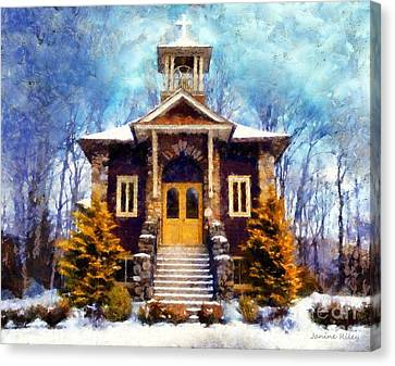 The Wooden Cross Canvas Print - Poconos Country Church by Janine Riley