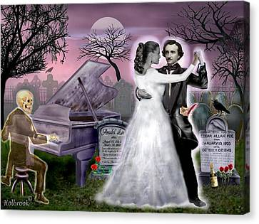 Poe And Annabel Lee Eternally Canvas Print by Glenn Holbrook