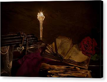 Poetry By Candle Light 2 Canvas Print