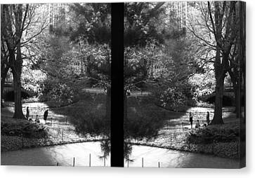 Poets At Central Park - Lovesongs Of New York Canvas Print by Feanare