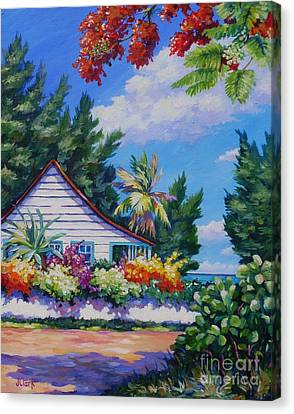 Poinciana And Cottage Canvas Print by John Clark