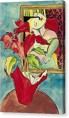 Poinsettia And Picasso Canvas Print