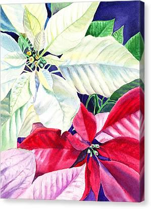 Decorated For Christmas Canvas Print - Poinsettia Christmas Collection by Irina Sztukowski