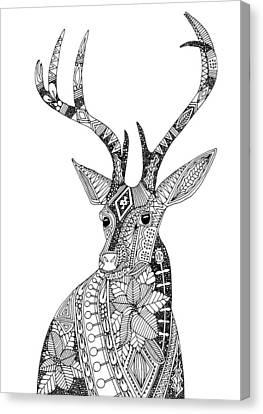 Poinsettia Deer Black White Canvas Print