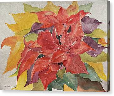 Canvas Print featuring the painting Poinsettias by Geeta Biswas