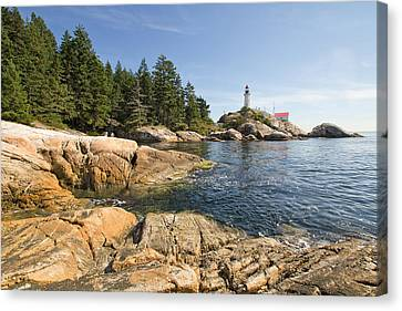 Canvas Print featuring the photograph Point Atkinson Lighthouse In Vancouver Bc by JPLDesigns