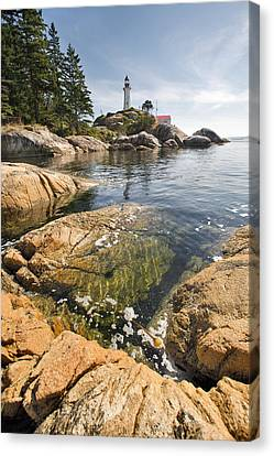 Canvas Print featuring the photograph Point Atkinson Lighthouse In Vancouver Bc Vertical by JPLDesigns