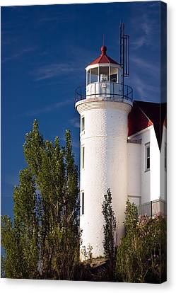 Historic House Canvas Print - Point Betsie Lighthouse Michigan by Adam Romanowicz