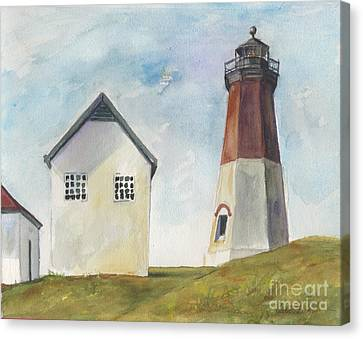 Canvas Print featuring the painting Point Judith Light by Susan Herbst