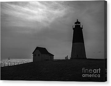 Point Judith Lighthouse Silhouette Canvas Print by Diane Diederich