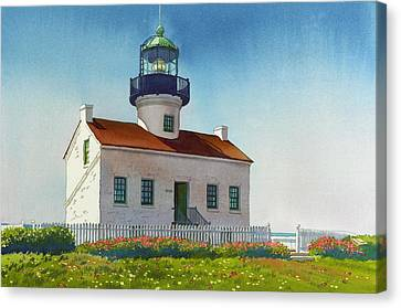 Point Loma Lighthouse Canvas Print by Mary Helmreich