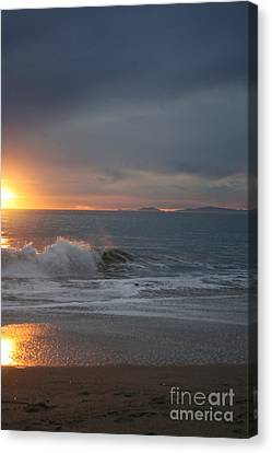 Canvas Print featuring the photograph Point Mugu 1-9-10 Sun Setting With Surf by Ian Donley