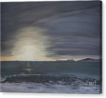 Canvas Print featuring the painting Point Mugu Sunset by Ian Donley