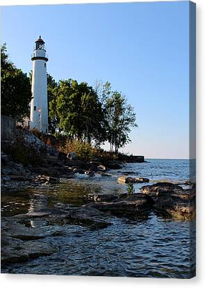 Pointe Aux Barques Lighthouse 1 Canvas Print by George Jones